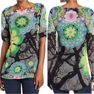 Desigual Alison sheer floral embellished tunic